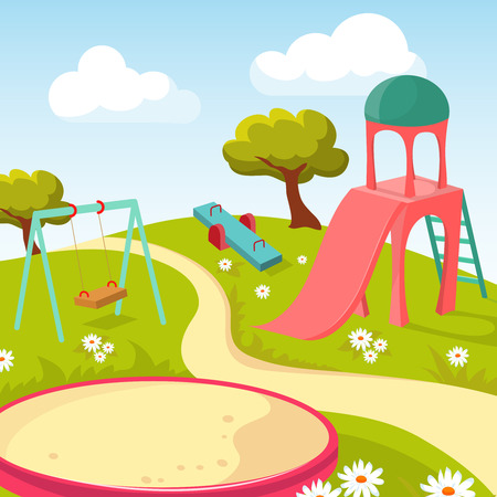 Recreation children park with play equipment vector illustration. Playground for game recreational