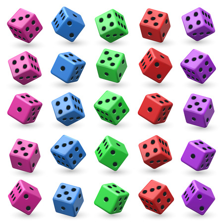Playing dice set for game illustration. Ilustrace