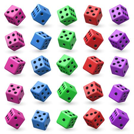 Playing dice set for game illustration. Illustration
