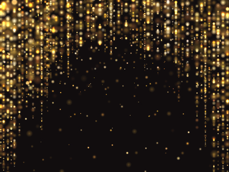 Abstract gold glitter lights vector background with falling sparkle dust. Luxury rich texture. Effect shine dust background illustration Illustration