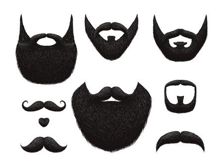 Mano dibujada colección de vector de barbas y bigotes. Ilustración de barba negra y bigote