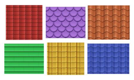 Vector naadloze dakpannen. Dak patroon patroon textuur collectie illustratie