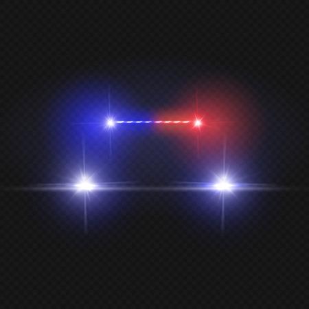 Politiewagenkoplampen en knipperende rode die sirenelichten op transparante achtergrond worden geïsoleerd. Politiewagen met lichtrode sirene, illustratie van drijvende politiewagen