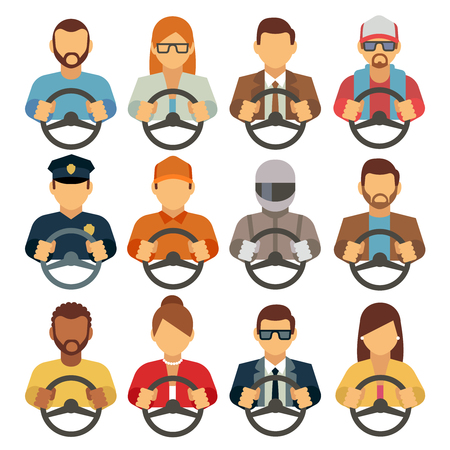 Man and woman drivers vector flat icons. Driving man courier or operator, illustration of woman drivers Illustration