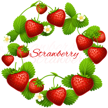 Juicy strawberry vector frame wreath. Health dessert eating strawberries background. Fruit red strawberry, illustration of wreath ripe fruits Illustration