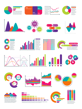 Elements Of Infographic With Flowchart Vector Statistics Diagrams