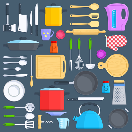 grater: Kitchen tools, cookware and kitchenware flat icons set. Kitchenware cup and pot illustration. Illustration