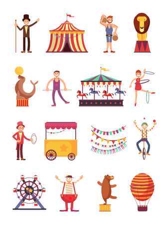 Carnival and circus cartoon fun characters. Fair carousel and amusement park elements vector collection. Carnival circus cartoon, illustration of air balloon and clown. Vector Illustration