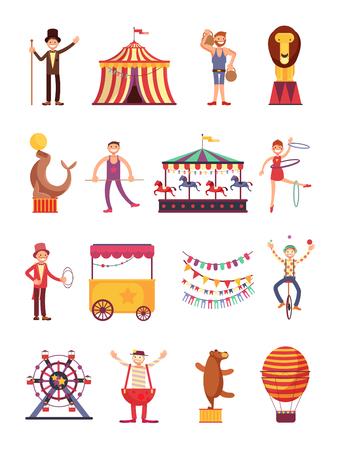 Zabawne postacie z kreskówek karnawałowych i cyrkowych. Uczciwa kolekcja elementów karuzeli i parku rozrywki. Karnawałowa kreskówka cyrkowa, ilustracja balonu i klauna. Ilustracje wektorowe