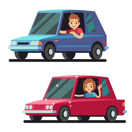 Young happy man and woman driver driving cars flat vector concept. Car drivers male, illustration of woman driving