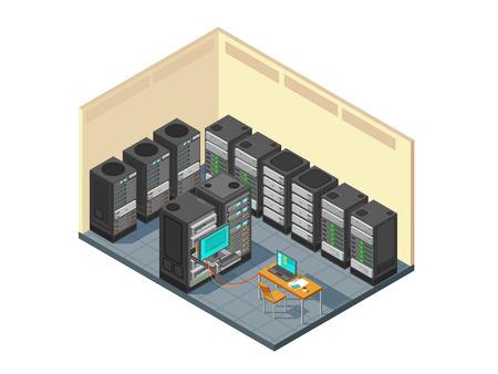 Isometrische netwerkserverruimte met rij van computermateriaal. De hardware van de gegevenscentrumsteun met servers vectorillustratie
