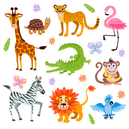 Cute jungle animals vector set for kids book. Cartoon jungle animal, illustration of animals