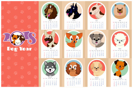 Monthly kids calendar 2018 with funny dogs, puppies. Dog calendar with character pets illustration