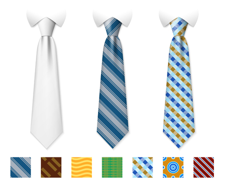 customizable: Customizable neckties vector templates with seamless textures set. Man necktie of set, illustration of tie with fashion pattern