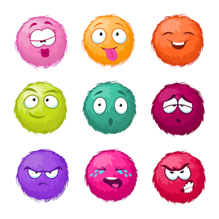 Funny colorful cartoon fluffy ball vector fuzzy characters set.