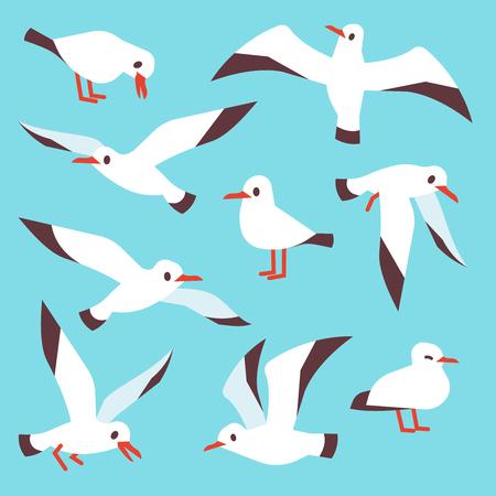 Cartoon atlantic seabird, seagulls flying in blue sky vector set. Sea gull drawing flight in various detail illustration Illustration