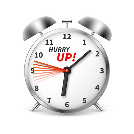 Hurry up vector concept background with alarm clock. Illustration of clock and time, hurry up alarm