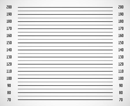 Photo background, criminal police mugshot with centimeter scale vector illustration. Identification photographic height chart, mugshot photo blank