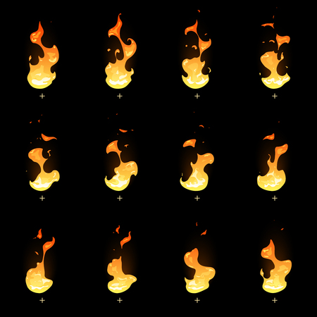 Fire sprite sheet. Cartoon vector flame game animation. Set of flame for game, illustration of burn bright fire design