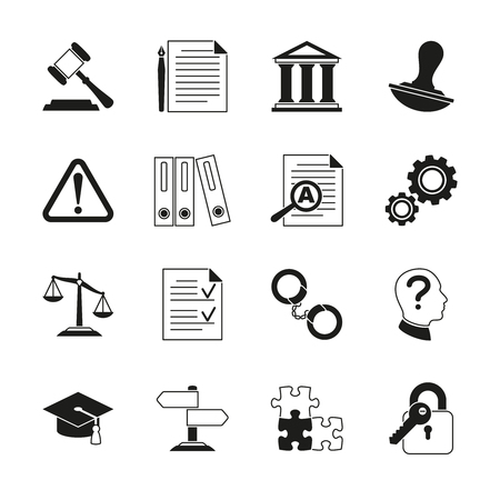 regulate: Law consulting, legal compliance vector icons. Policy and regulations pictograms illustration