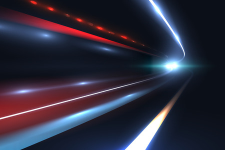 Car speed lines. Light trails tragic of long exposure abstract vector background. Light night road tunnel for car or train illustration Vectores