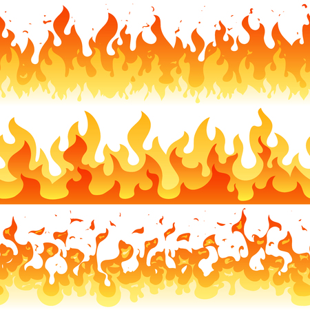 만화 화재 불꽃 벡터 원활한 프레임 테두리입니다. 원활한 오렌지 화재 테두리 장식 그림