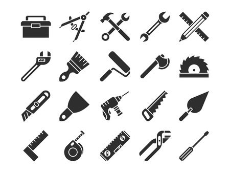 Construction and engineering tools silhouette vector icons.