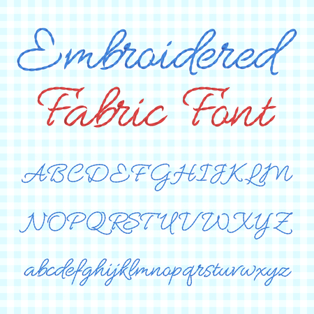 Embroidered fabric font with calligraphic letters. Vector thread alphabet.