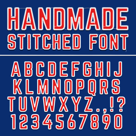 alphabetic character: Handmade embroidered vector font alphabet. Stitched letters for fabric decoration.