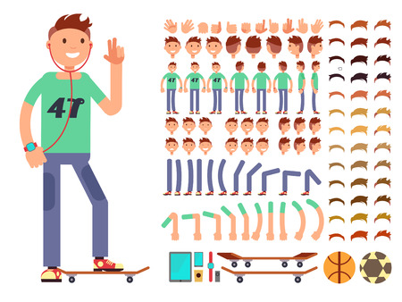 Young and happy vector character boy creation constructor. Student boy with headphones skate ball and gadget illustration Ilustração