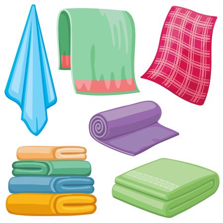 wiping: Cartoon towels vector set. Cloth towel for bath, illustration of cartoon fabric towel for hygiene Illustration