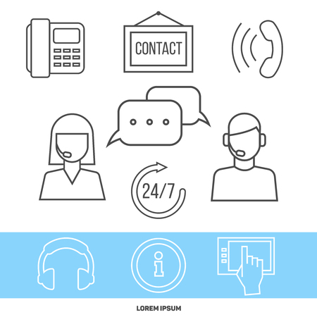 assisting: Contact center or online support concept with line icons