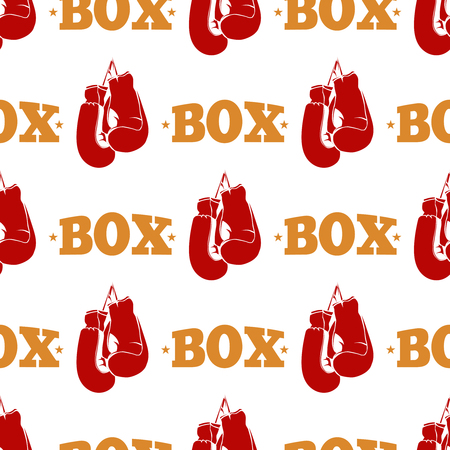 pastime: Sport pattern design - box seamless texture with red boxing gloves. Background sport box design. Vector illustration