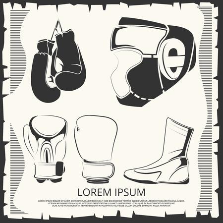 Affiche sportive avec tenue de boxe - casque, gants et chaussures. Illustration vectorielle Banque d'images - 80268292