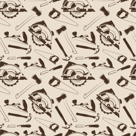 tillable: Carpentry tools seamless pattern design. Background wallpaper with instruments. Vector illustration