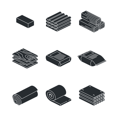 Building and contruction materials icons set on white background. Wooden material for building construction. Vector illustration