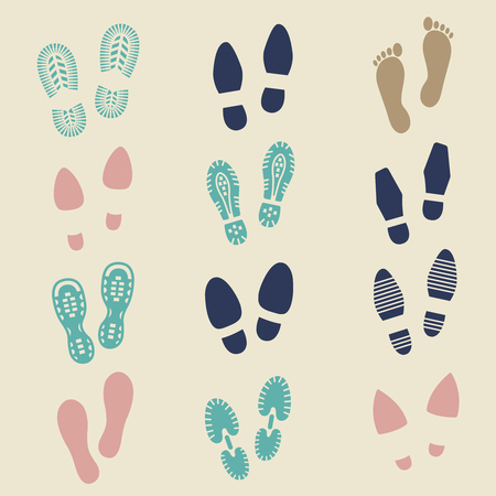 Colorful footprints - female, male and sport shoes footmarks. Rubber shoe sole print. Vector illustration Illustration