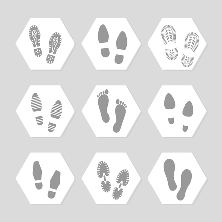 assortment: Grey footprints icons - female, male and sport shoe. Vector illustration