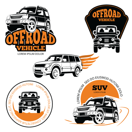 Off-road vehicle labels or logos set isolated on white background. Vector vehicle icon emblem, automobile illustration