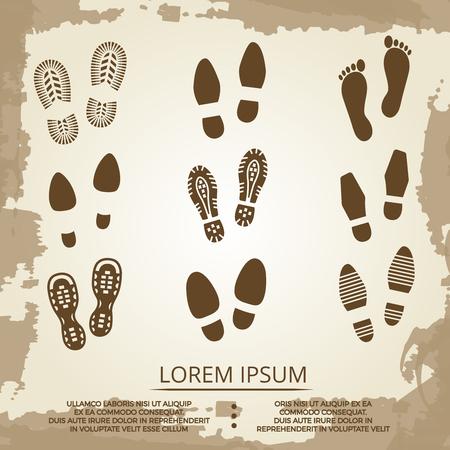 receding: Vintage grunge footsteps poster design. Footprint step art, vector illustration Illustration