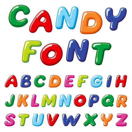 Cartoon candy kids vector font. Rainbow funny alphabet for childrens education Illustration