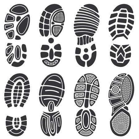 Running sportschoenen vector voetafdruk instellen. Silhouet van tong print, zwarte baan schoen illustratie