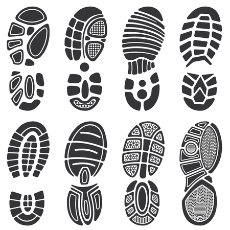 Running sport shoes vector footprint set. Silhouette of sole print, black track shoe illustration Illustration