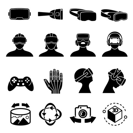 Virtual reality and headset glasses vector icons. Simulation game and vr computer sensor device symbols. Visual game gadget for simulation illustration
