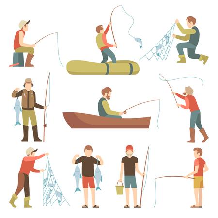 Flache Ikonen des Sommerfischensporturlaub-Vektors. Fischer mit Fisch gesetzt. Fischerfischen in der Bootsillustration Standard-Bild - 80534941