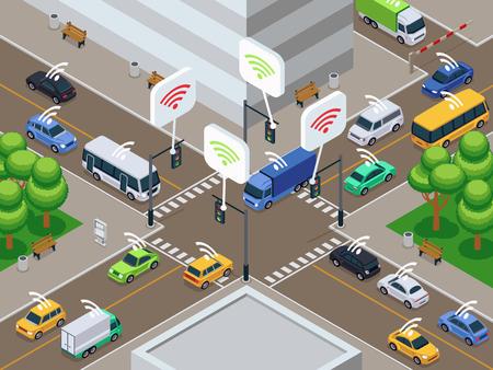 Vehículos con dispositivo sensor de infrarrojos. Los coches inteligentes no tripulados en el tráfico de la ciudad vector la ilustración. Unidad autónoma de sensor de coche en la ciudad de carretera