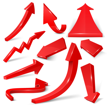 flechas direccion: Glossy red 3d arrows isolated on white vector set. Arrow web curve direction illustration Vectores