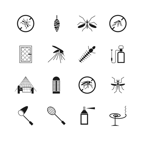 Mosquito prevent and control vector icons. Ban mosquito symbol illustration.