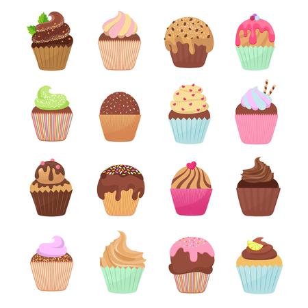 Delicious cupcakes and muffins vector cartoon set, Chocolate birthday dessert cupcake illustration