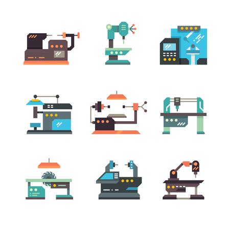 Industrielle cnc-Werkzeugmaschinen und flache Ikonen der automatisierten Maschinen, Maschinenausrüstung für Fabrikindustrie, Illustration von industriellem, Produktion